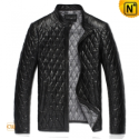 Mens Black Quilted Leather Jacket CW821001 - CWMALLS.COM