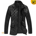 Mens Black Padded Leather Coat CW833611 - CWMALLS.COM