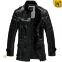 Mens Black Goatskin Leather Hunting Coat CW833901 - CWMALLS.COM