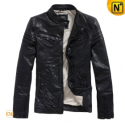 Black Sheepskin Leather Jacket Men CW819055 - CWMALLS.COM