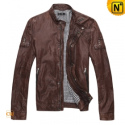 Mens Tanned Motorcycle Leather Jacket CW871156 - CWMALLS.COM