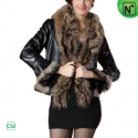 Women Fur Trimmed Leather Jacket CW694079 - M.CWMALLS.COM