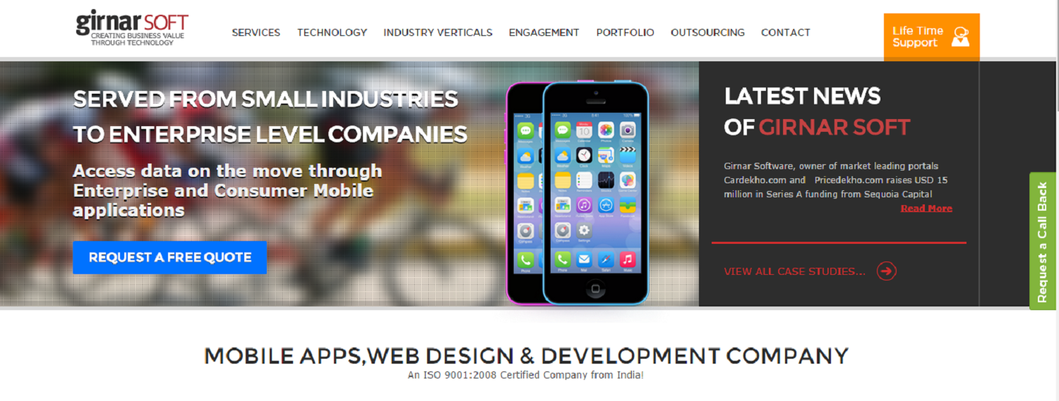 "Headline for Best Mobile Apps, Web Design and Development Company - ""Girnar Soft"", Offshore IT Outsourcing Services"