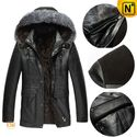 Mens Black Hooded Sheepskin Leather Coat CW868866