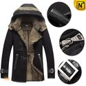 Mens Fur Trim Leather Parka with Hood CW877132