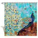 Peacock and Peacock Feather Shower CurtainShower Curtain Glamour