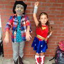 The dynamic duo, zombie cowboy x wonder women. props to mom for the cool get ups.