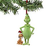 Grinch from Department 56 Flocked Grinch & Santa Max Ornament