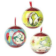Dr. Seuss Grinch Christmas Tree Ball Ornament Decorations 3 Pack by Hallmark