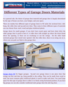 Choosing The Best Garage Door Material
