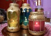 Decorated glass lanterns