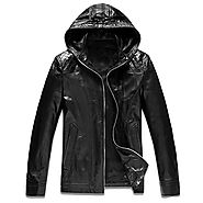 Cwmalls Mens Hooded Leather Jacket CW866101