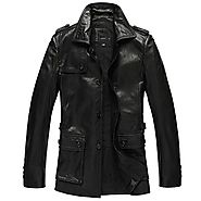 Cwmalls Mens Leather Hunting Jacket Coat CW833903