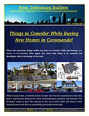Things to Consider While Buying New Homes in Coromandel