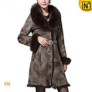 Madrid Womens Long Shearling Fur Coat CW640216