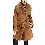 Cwmalls Womens Double Breasted Sheepskin Shearling Long Coat