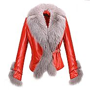 Bucharest Womens Fox Fur Leather Jacket CWMALLS