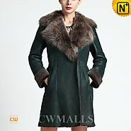 Seattle Womens Fur Trim Shearling Coat CW651312