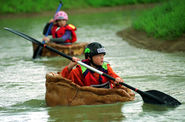 The Yorkshire Pudding Boat Race: Brawby, North Yorkshire, England.