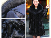 Faux black mink fur slim women long coat