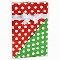 Reversible RED and GREEN POLKA DOTS Gift Wrap Wrapping Paper - 16ft Roll