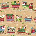 "Christmas Train Kraft Gift Wrap Flat Sheet 24"" X 6'"