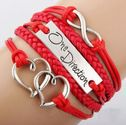 KMG Antique Infinity Charm One DIrection Infinity HEART Braided Red cord Leather Mixed Bracelet Wristbands Xmas Gift
