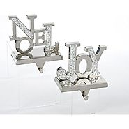 Kurt Adler Metal Joy And Noel Stocking Holder