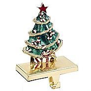 Kurt Adler Zinc Christmas Tree Stocking Holder Decor