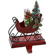 Kurt Adler Tin Glitter Sleigh Stocking Holder, Red