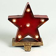 "Glitzhome 7.48"" Marquee LED Lighted Star Christmas Stocking Holder Battery Operated"