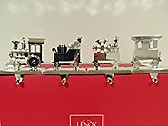 Silver Train Christmas Stocking Hanger Set