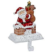 Kurt Adler Resin Santa with Gift Box Stocking Holder, 6.5-Inch