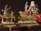 Set of 2 Joseph's Studio Santa Claus and Reindeer Christmas Stocking Holders