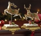 Set of 2 Joseph's Studio Victorian Inspirations Reindeer Christmas Stocking Holders 8.5""
