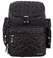 Shona Quilted 5 Piece Diaper Bag Backpack Set, Dry bag and changing pad (Black)