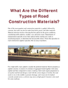 What Are the Different Types of Road Construction Materials? | edocr