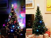7 FT PRE-LIT MULTI COLOR LED FIBER OPTIC WITH STAR TOPPER ARTIFICIAL GREEN CHRISTMAS TREE