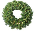 "Jolly Workshop 24"" Pine Wreath 250 tips and 50 Concave Soft White LED lights w/ Battery Operated-Timer"