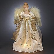 "16"" Lighted Ivory and Gold Angel Christmas Tree Topper - Clear Lights"