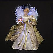 "12.5"" Ivory and Gold Lighted Fiber Optic Angel Christmas Tree Topper"