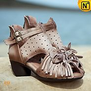 High Heel Leather Sandals CW305220 - cwmalls.com