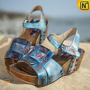 Leather Wedge Sandals CW305235 - cwmalls.com