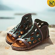 Cutout Leather Sandals Shoes CW305239 - cwmalls.com