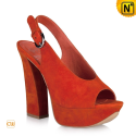 Orange Wedges Heels Sandals CW263103 - cwmalls.com