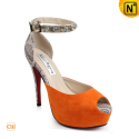Platform Leather High Heels CW275245 - cwmalls.com