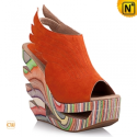 Wood Heel Platform Wedges Shoes CW236002 - cwmalls.com