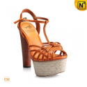 Orange Thick Heel Platform Sandals CW235613 - cwmalls.com