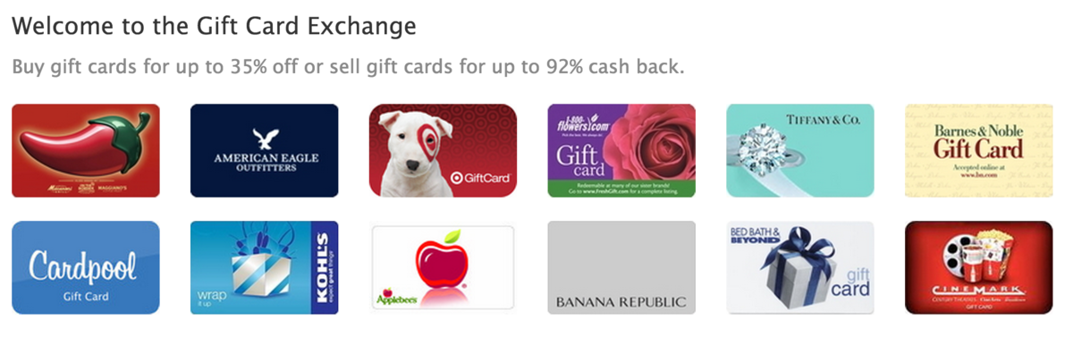 Headline for Gift card exchanges