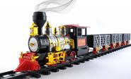 MOTA Christmas Santa Holiday Classic Train with Sound, Light and Real Smoke, Black/Red/Gold